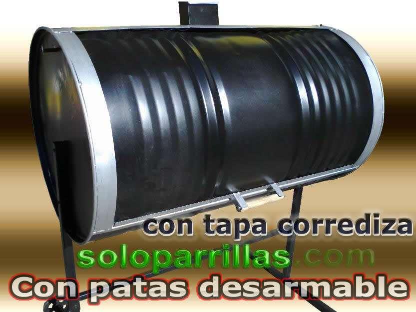 Parrillas tambor unica con tapa corrediza y patas desarmable