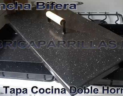 Plancha Bifera Con Tapa Cocina Hamburguesa Doble Hornalla enlozada